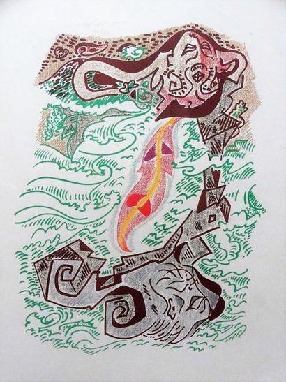 André MASSON (1896 – 1987) Sans titre Lithographie sur papier, signée en bas à droite...