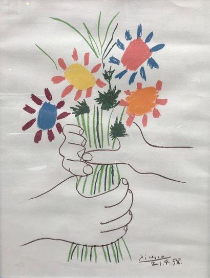 D'après Pablo PICASSO Le bouquet 1958 Lithographie...