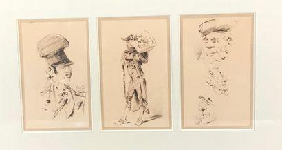 *Ecole du XIXe siècle Trois dessins à l'encre...