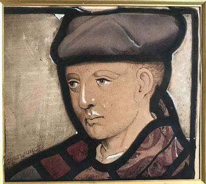 Eugène Flaunet (?-1885) Jeune homme de profil...