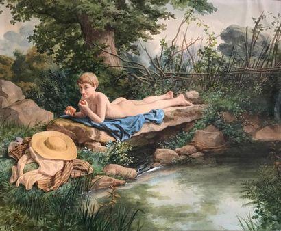 A LELOIR (XIXe) Jeune homme étendu près d'une...