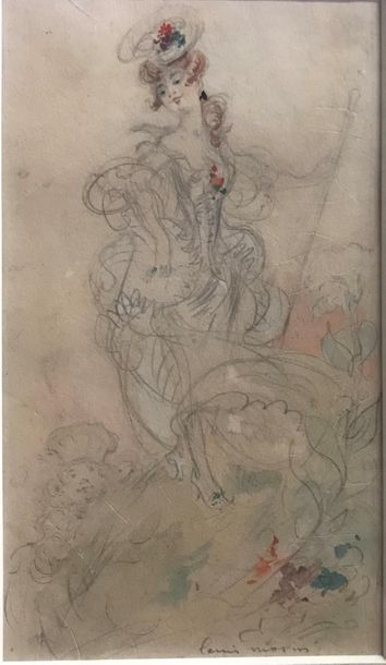 *Louis MORIN (1855-1938) L'élégante Crayon...