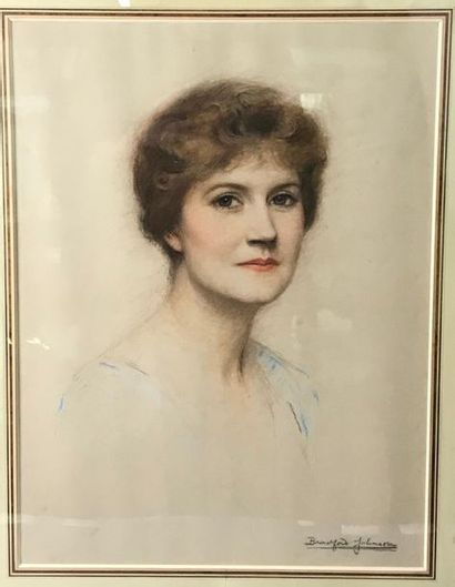 *Johnson BRADFORD (XIX-XX) Portrait de femme...