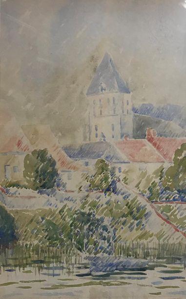 *Jean NOUVEAU (Xxè) Paysages Six aquarelles...
