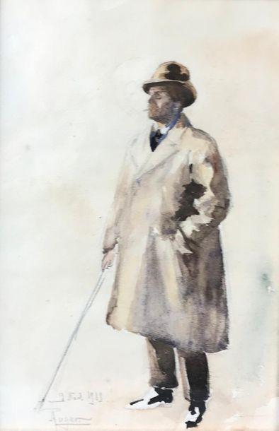 *ROGER Portrait en pied de Jean NOUVEAU Aquarelle...