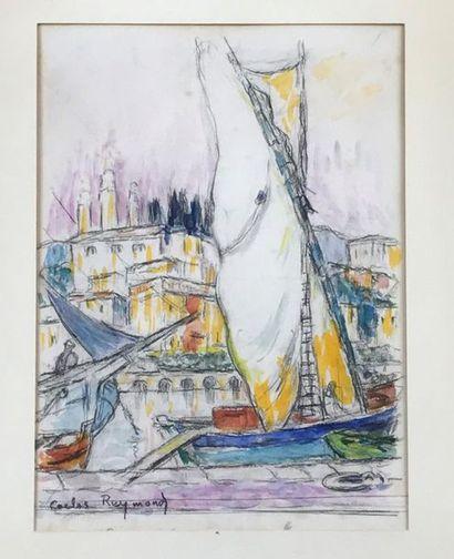 RAYMOND CARLOS (1884-1970) Bateau à quai...