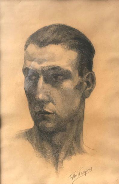 M.THIELEMANS (XXe siècle) Portrait d'homme...