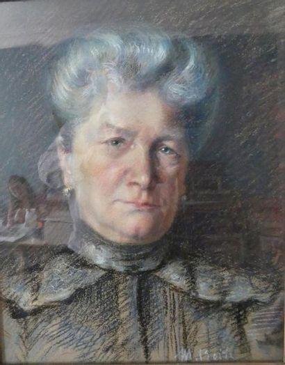 M. ROTH Portrait de femme Pastel signé en...