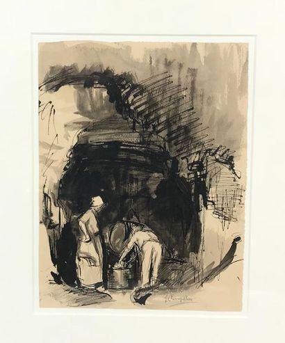 *Jeanne CHAMPILLOU (1897-1978) Scène paysanne...