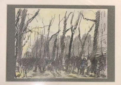 Toshio MATSUDA (1949) Rue animée Crayon et...