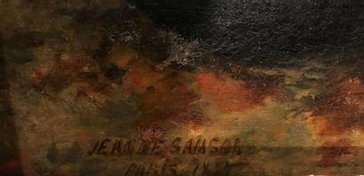 Jeanne SAMSON (XIX) Jeune femme coquette Huile sur panneau, signé, situé Paris et...