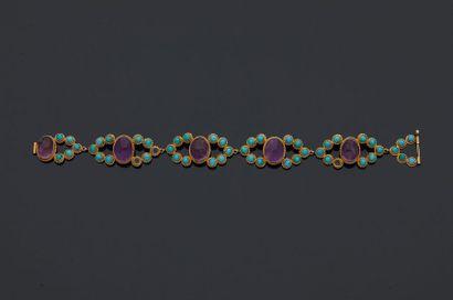 Bracelet en or jaune, 14k 585‰, composé de...