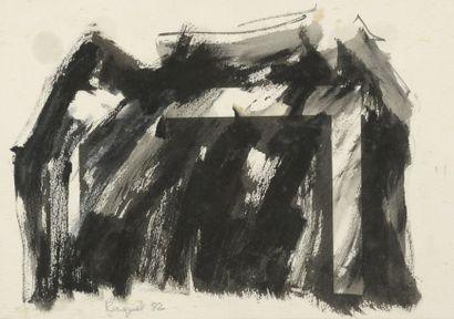 RAQUEL (1925-2014)  Sans titre, 1982 et 1985  Aquarelle et technique mixte, signées...