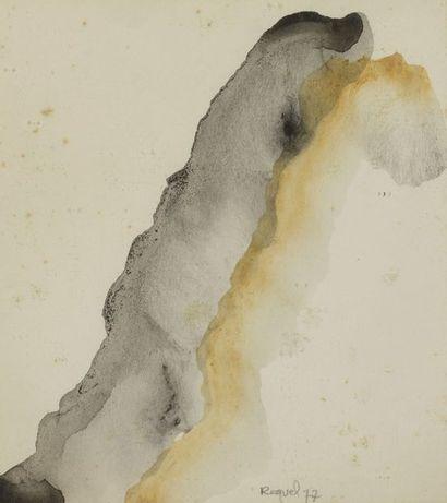 RAQUEL (1925-2014)  Sans titre, 1977 et 1985  Deux aquarelles sur papier signées...