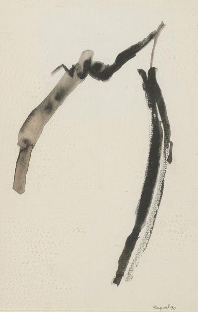 RAQUEL (1925-2014)  Sans titre, 1990  Deux techniques mixtes sur papier, signées...
