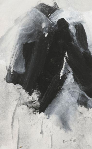 RAQUEL (1925-2014)  Sans titre, 1982 et 1990  Deux techniques mixtes sur papier,...