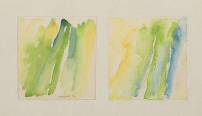 RAQUEL (1925-2014)  Sans titre 1990  Deux aquarelles sur papier réunies dans un...