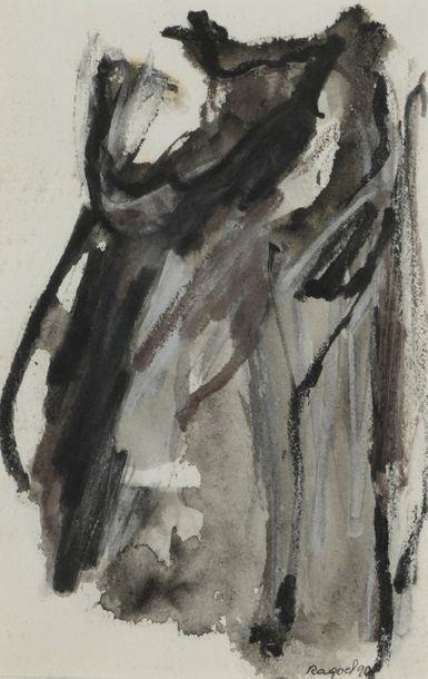 RAQUEL (1925-2014)  Sans titre, 1989 et 1990  Deux techniques mixtes sur papier...