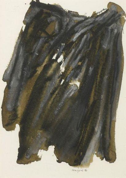 RAQUEL (1925-2014)  Sans titre, 1990  Deux techniques mixtes sur papier, signés...
