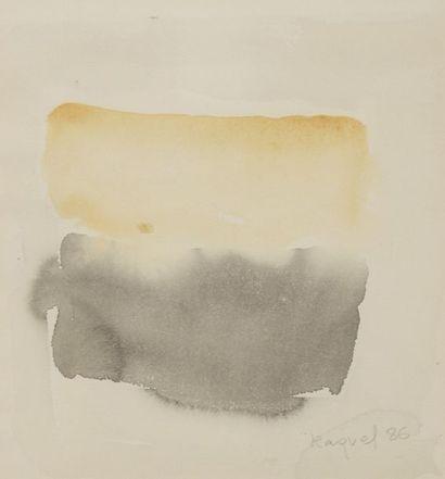 RAQUEL (1925-2014)  Sans titre, 1985 et 1986  Deux aquarelles sur papier signées...