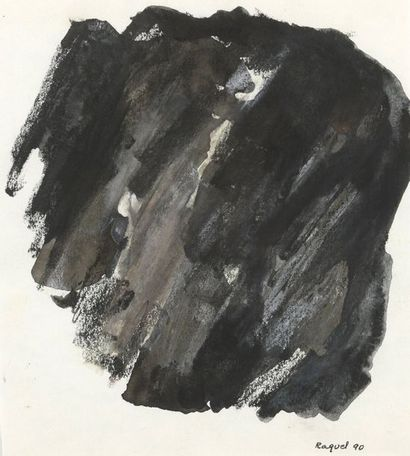 RAQUEL (1925-2014)  Sans titre  Deux techniques mixtes sur papier signées en bas...