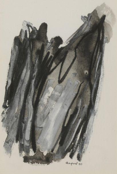 RAQUEL (1925-2014)  Sans titre,   Deux techniques mixtes sur papier, l'une signée...