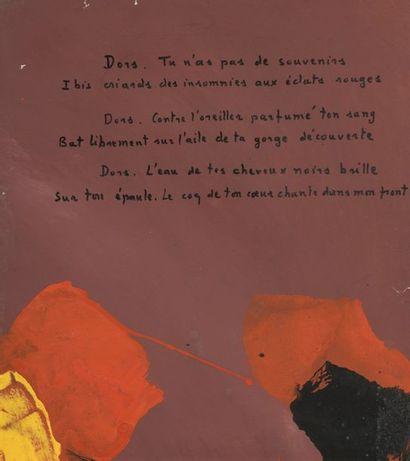 RAQUEL (1925-2014)  Peinture-poésie  Gouache...