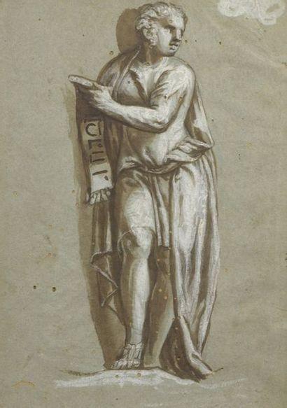 École ITALIENNE du XVIe siècle  Femme tenant...