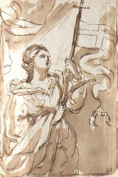 École ITALIENNE du XVIIe siècle  Une femme...