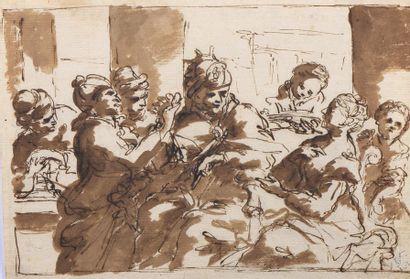 Attribué à Luca GIORDANO (1634-1705)  Scène...