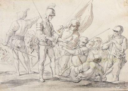 École ITALIENNE vers 1700  Groupe de soldats...