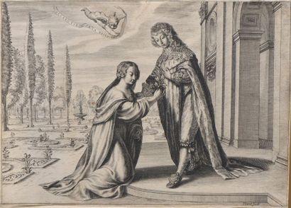 Grégoire HURET (1606-1670)  Une femme agenouillée...