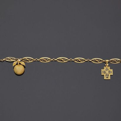 Bracelet en or jaune, 18k 750‰, à maillons...