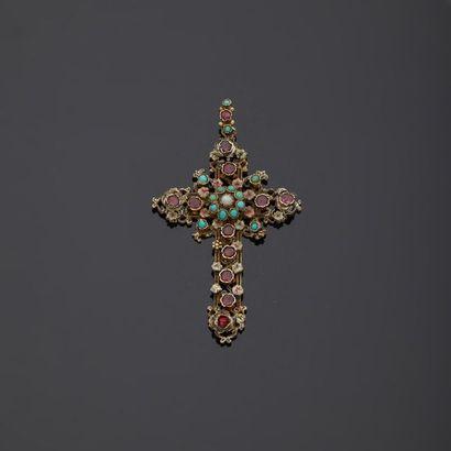 Croix en vermeil, argent 2nd titre 800‰ doré,...