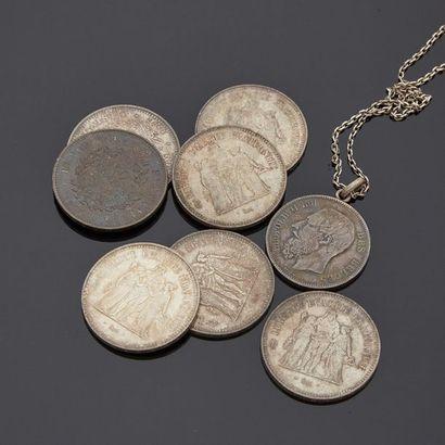 Lot de sept pièces de cinquante francs Hercule...