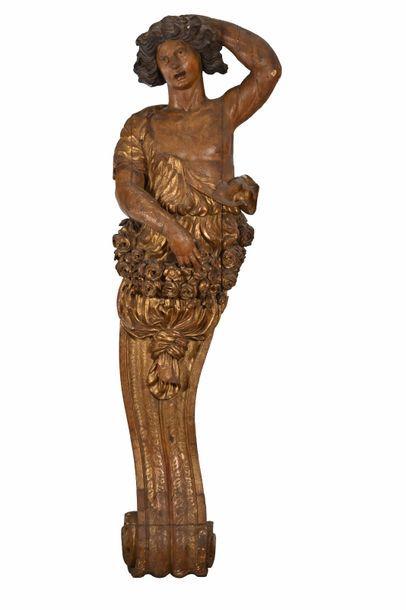Deux atlantes en bois sculpté, polychromé...