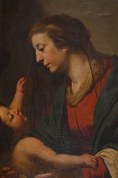 Jan Van Bijlert - (Utrecht 1597 – 1671) Vierge à l'enfant avec un ange Toile 100...