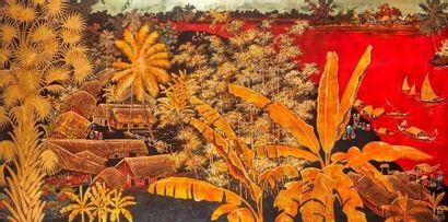 VIETNAM, TRAN VAN HA  (1911-1974)  Panneau en bois laque? et dore? repre?sentant...