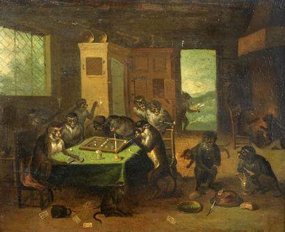 Ecole du XVIIIème Les singes joueurs. Huile...