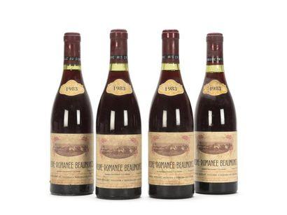 4 bouteilles VOSNE-ROMANÉE BEAUMONTS (1er...