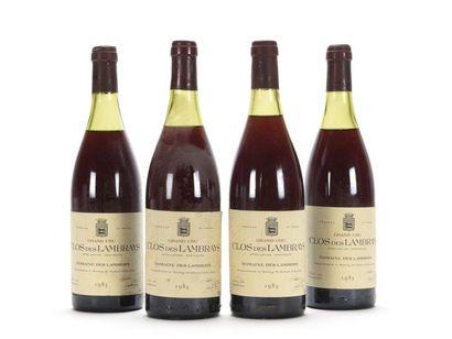 4 bouteilles CLOS DES LAMBRAYS (Grand Cru)...