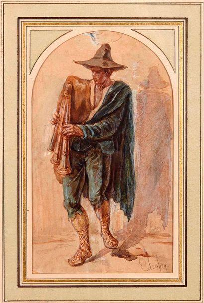 Émile LOUBON (1809-1863)  Le joueur de fifre....