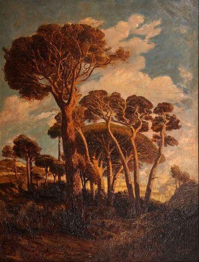 Prosper Grèsy (1804-1874)  Les pins  Huile...