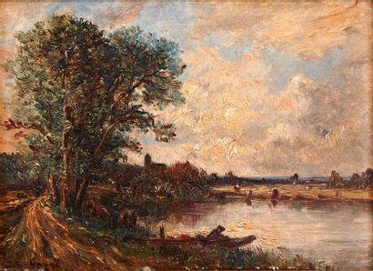 Victor DUPRÉ (1816-1879) Paysage à la barque....