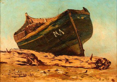 Joseph GUITTON (1849-1911)  Barque sur la...