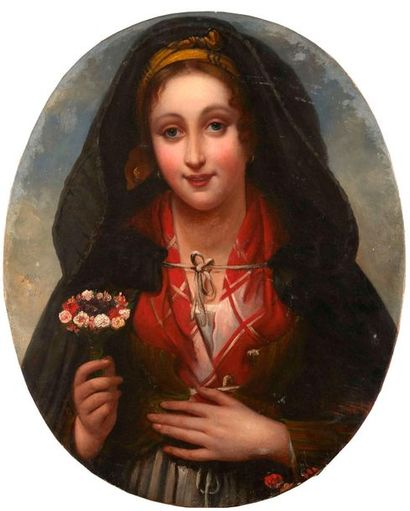 Ecole du XIXème siècle.  Portrait de femme....