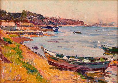 Jean AUBERY (1880-1952)  Barque en bord de...