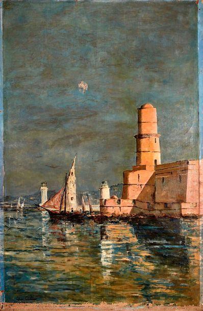 COSTE (XIX°)  L'entrée du port de Marseille,...