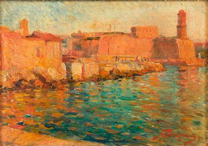 Georges POMERAT (XIX-XX)  Le port de Marseille....