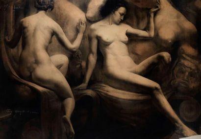 Marcel CAUTER VAN (1919) Nus féminins. Fusain,...